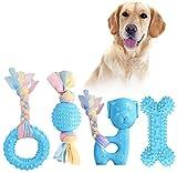 JYPS Puppy Chew Toys, 4-TLG Spielzeugset zum Zahnen von Hunden mit Ball und...