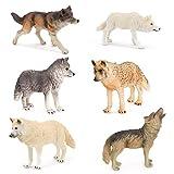 6 Stück Wolf Figuren Sets Simulation Tierspielzeug Wolf Dschungel Wald Tiere...