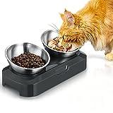 PewinGo Futternapf Hund Katze Rostfreier Stahl, Rutschfeste Silikonbasis mit 0° und...