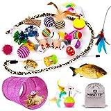 MIBOTE 30 Stück Katzen Spielzeug Katzenspielzeug Set mit Katzentunnel Jingle Bell,...