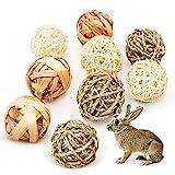 9 Stück Kaubälle, Kleintiere Kauspielzeug, Grasspielzeug für Kaninchen...