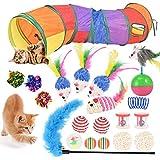 20 Stück Katzenspielzeug Set mit Katzentunnel, Bälle, Federspielzeug,...