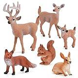 Luoji 6 Stück Waldtiere Figur Spielzeug, Realistisches Tierspielzeug Set, Fuchs...