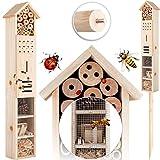KESSER® Insektenhotel aus Holz mit Erdspieß - Naturbelassenes Insekten Hotel für...