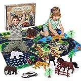 Ulikey Safari Tierfiguren Spielzeug Set mit Spielmatten, Dschungel Tierfiguren...