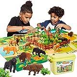 BUYGER 58 Stück Tiere Spielzeug Tierfiguren Kinder, Tierspielzeug ab 3 Jahre, Tier...